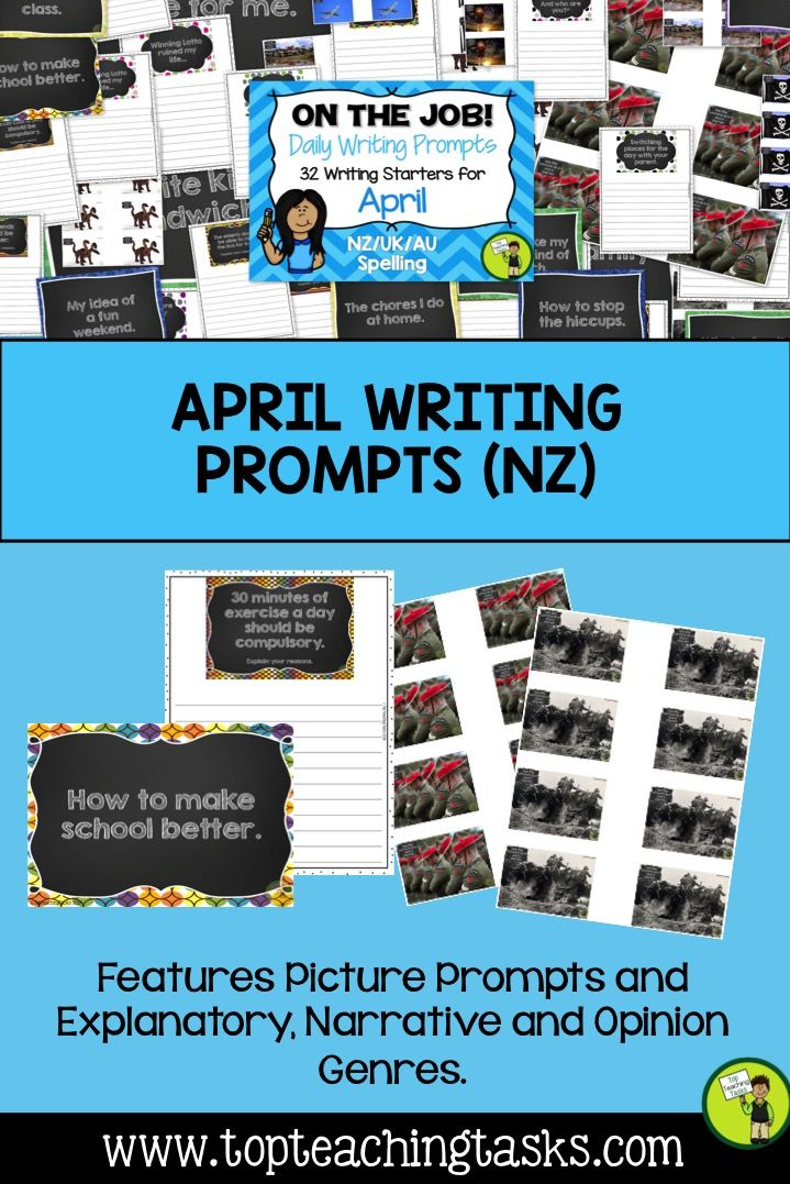 This resource includes 32 daily writing prompts for April in three formats: PowerPoints, Journals, and Worksheets. You can choose the ones that suit your class best! This resource is suitable for NZ/Australia/UK classrooms.   You will receive 32 daily writing prompts: - Eight Explanatory prompts - Six Opinion/persuasive prompts - Eight Narrative prompts (story starters) - Ten Photo/Picture Prompts (including two Anzac Day prompts) - April 25