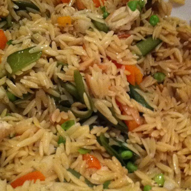 Asian Orzo Chicken Salad-- paula deen's recipe!! sooooo good!!  i obmit the chestnuts & add more hoisin!!