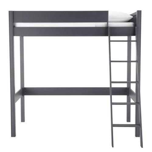 Lit mezzanine enfant 90 x 190 cm en bois gris