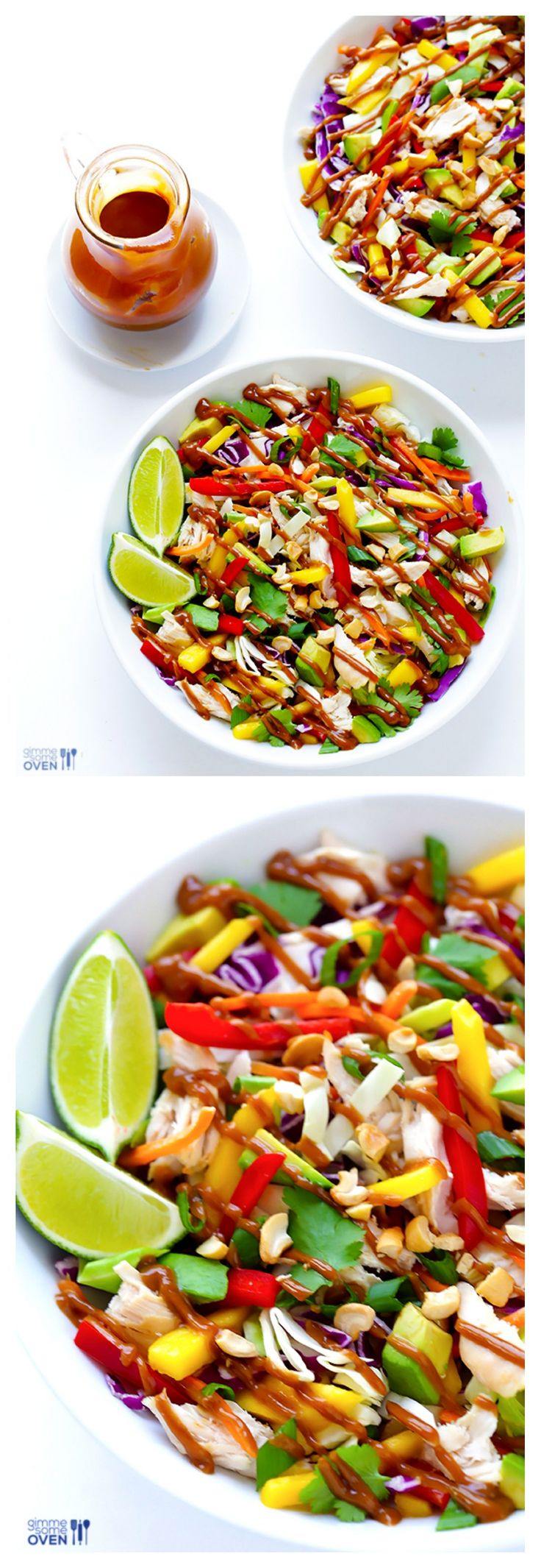 Rainbow Thai Chicken Salad (GF) ~ made with tons of fresh veggies and topped with a heavenly peanut dressing