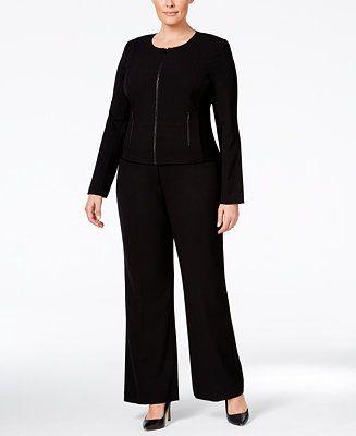 Calvin Klein Plus Size Fit Solutions Jacket & Wide-Leg Pants - Suits & Suit Separates - Women - Macy's
