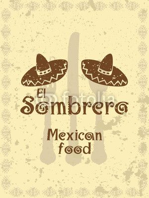 Vintage style menu cover with sombreros and cutlery