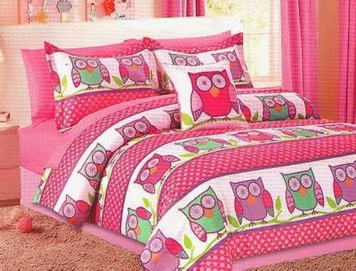 Girls Pink Purple HOOT OWL Full/Double 8P Comforter Sheet Pillow Bedding Set