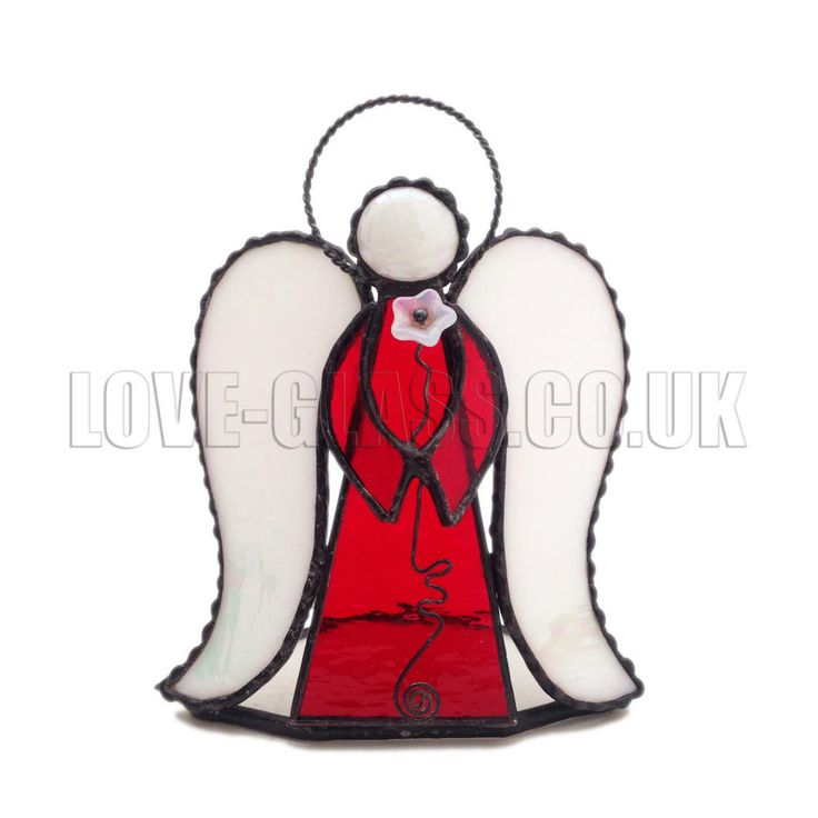 CANDLE HOLDER 3D RED ANGEL Stained Glass, Gift, Decoration, Art Glassware, UK