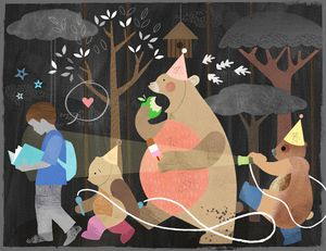 Bear Hunt Print by Sugar Snap Studio: A young boy consults his book as he wanders through the dark woods on a starry night followed by a procession of bears wearing party hats and carring skipping ropes and snacks.  From an original illustration by Jessie Ford  Open edition A3 giclée print signed by the artist: