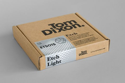 Tom Dixon: a functional packaging range and a series of different patterns for Tom Dixon's new 'Etch Light' // Mind Design