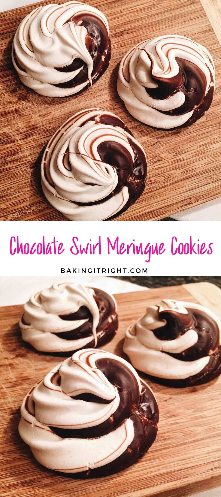 Chocolate Swirl Meringue Cookies are an impressive and easy dessert to make for guests!