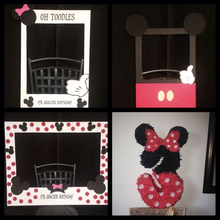 Minnie Mouse and Mickey Mouse party ideas. Photo booth frames and piñata.