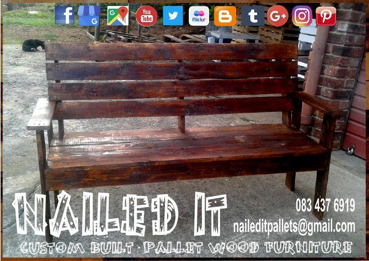 Custom built pallet wood 3 seater bench with armrests. #naileditcustombuiltpalletfurniture #palletwoodfurnituredurban #palletfurniture #palletfurnituredurban #palletfurnitures #custompalletfurnituredurban #custompalletfurniture #palletbench #outdoorfurniture #outdoorpalletfurniture
