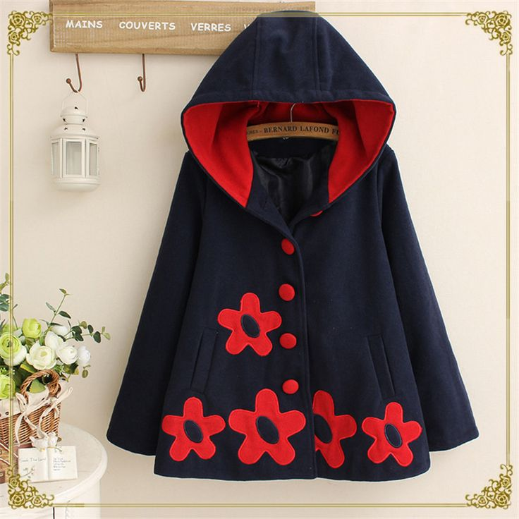 Nieuwe herfst winter vrouwen jas japanse stijl mori meisje bloem patch lange mouwen katoen casual hooded warm wol bovenkleding jas(China (Mainland))