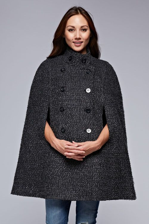 Sophisticated Marled Textured Wool Cape Coat w/Double Breasted Design!