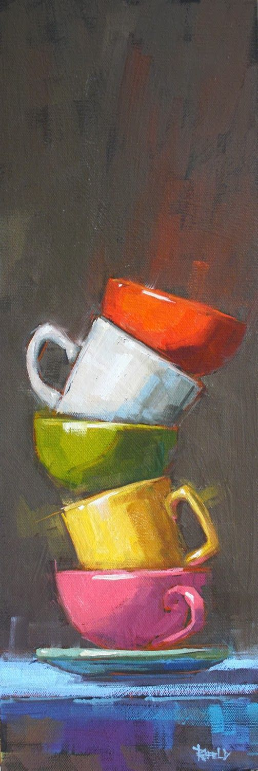 cathleen rehfeld • Daily Painting: Stack with Pink Cup: