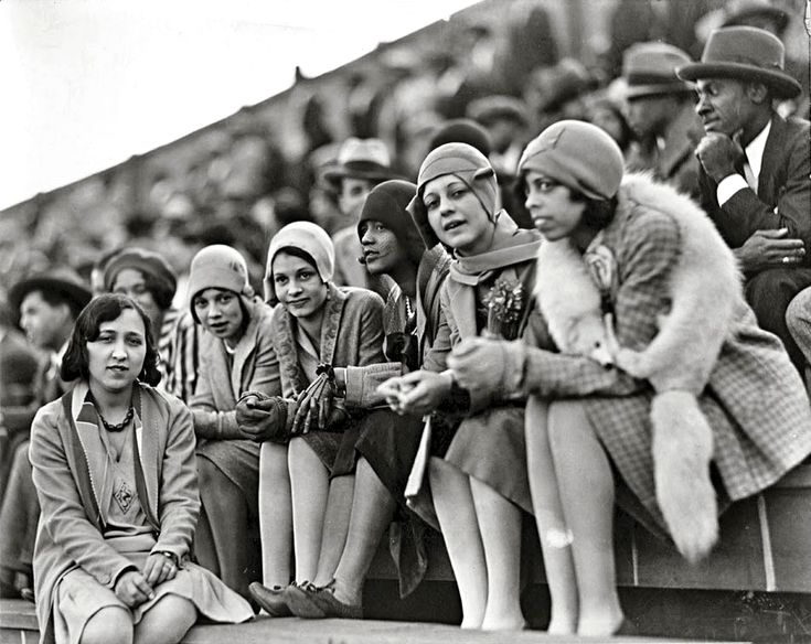 Howard University students watching a football game, photographed by Addison Scurlock (ca. 1925)