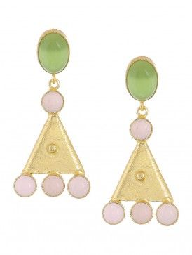 Prehnite and Rose Quartz Gold-plated Brass Earrings