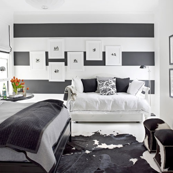 Funky, fun but very fashionable black and white bedroom. Monochrome always hits the spot . . .