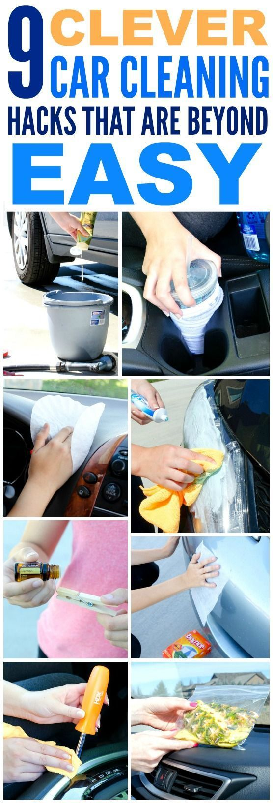 These 9 Clever hacks for cleaning and deep cleaning the car are THE BEST! I'm so glad I found these GREAT tips! Now I have great car hacks and tips when wanting to make it look like new again! Definitely pinning!