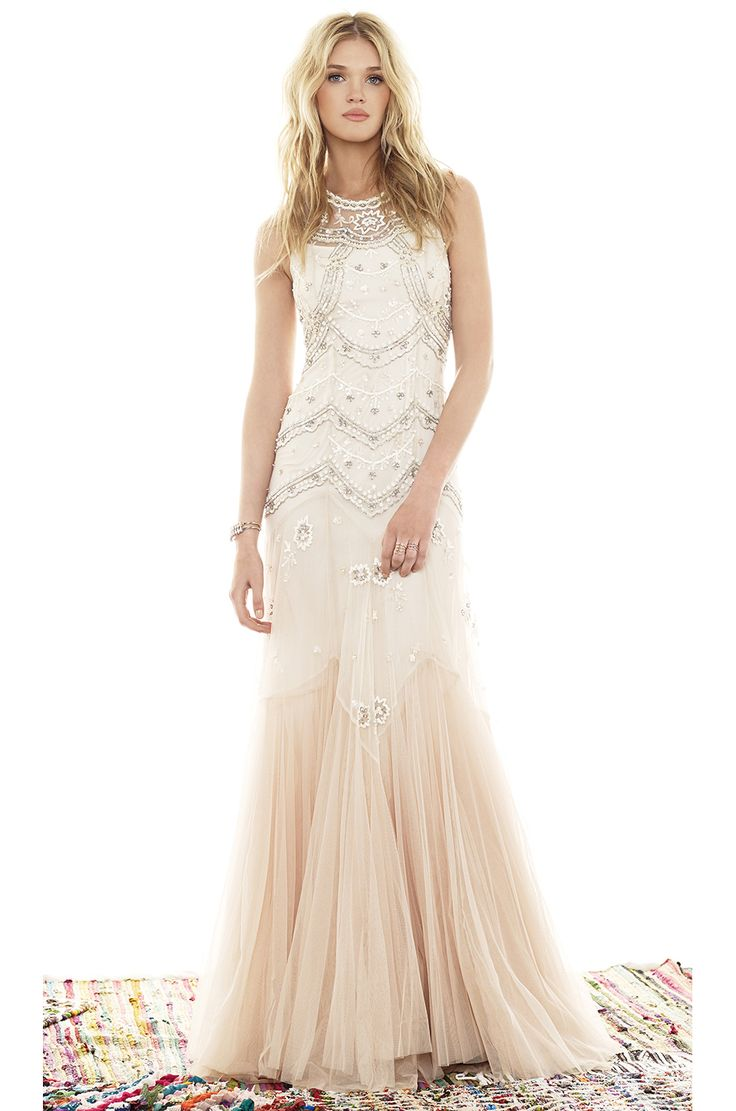 Black Tie/ Formal Gown/ Ivory and Blush Tulle Needle & Thread Tulle V-Cut Gown in Cream & Dust Pink | REVOLVE