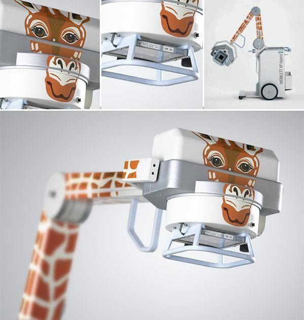 Aparato de Rayos X potatil con forma de girafa en Hospital Infantil de Dinamarca y también del INP de México.