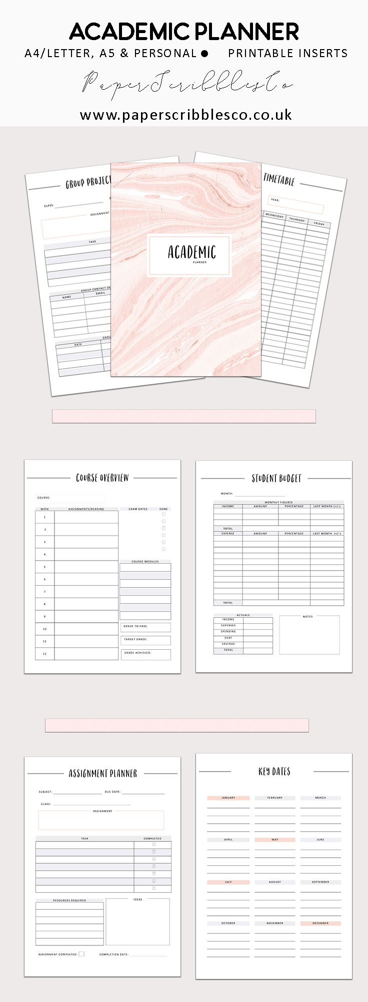 Academic Planner | Student Planner | College Planner |  Printable Planners |  Planning | Student Budget |  College Planning | Planner Inserts | Printable Inserts | Planner Organization