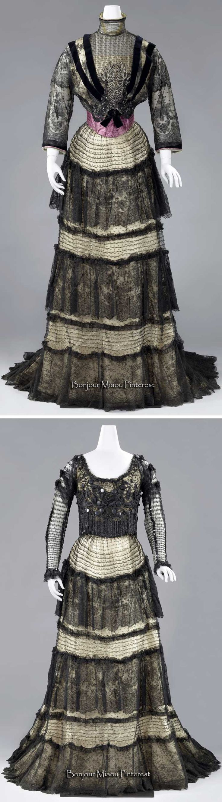 Dress with afternoon and evening bodices, Lucien Andrain, Paris, ca. 1903–06. Black lace on cream satin. Afternoon bodice trimmed with black velvet ribbon, silver bullion, and sequins, and has pleated purple silk cummerbund. Rijksmuseum