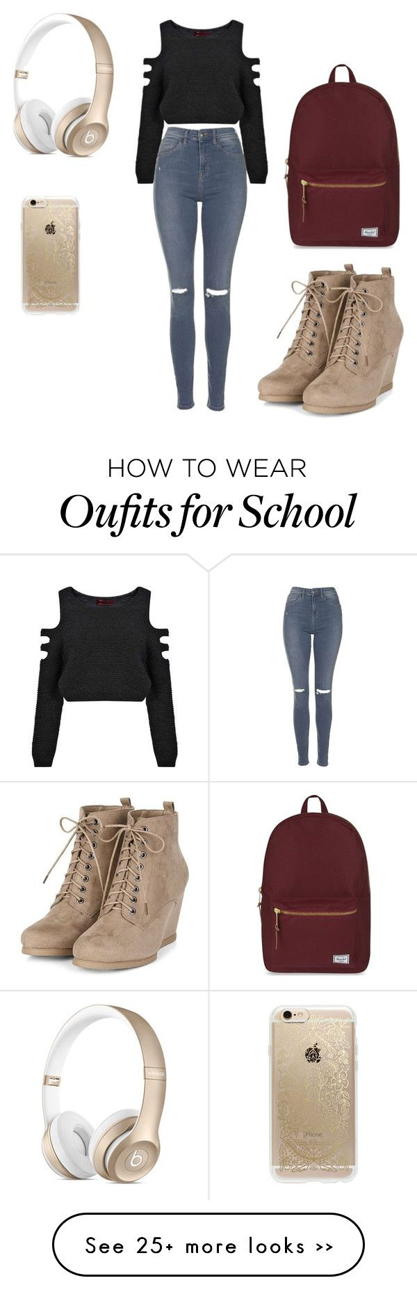 """""""Back to school 2015"""" by amber-de-bleeckere on Polyvore featuring Boohoo, Topshop, Herschel Supply Co. and Rifle Paper Co"""