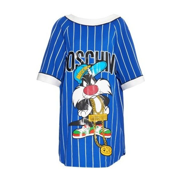MOSCHINO Sylvester-print striped jersey dress (69.140 RUB) ❤ liked on Polyvore featuring dresses, blue, tshirt dress, blue t shirt dress, stripe dress, striped dress and cat dress