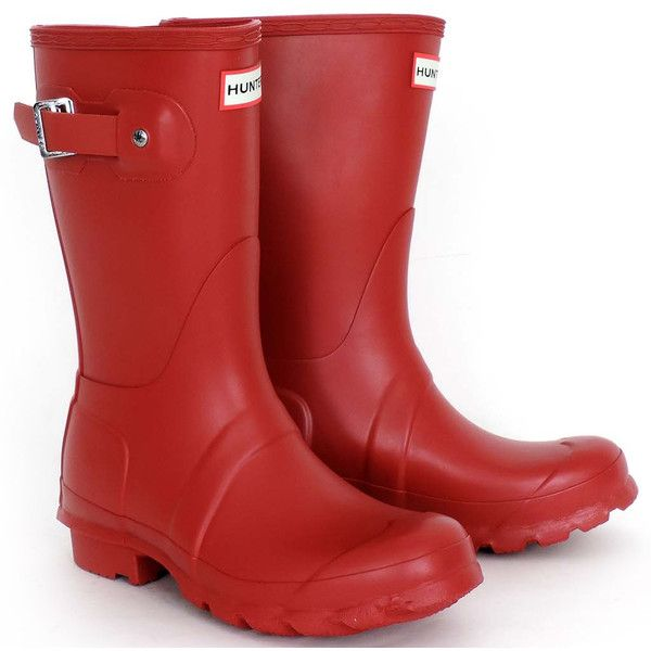 Women's Original Short Hunter Rain Boots ($100) ❤ liked on Polyvore featuring shoes, boots, military red, red boots, short welly boots, rubber boots, rain boots and wellies boots