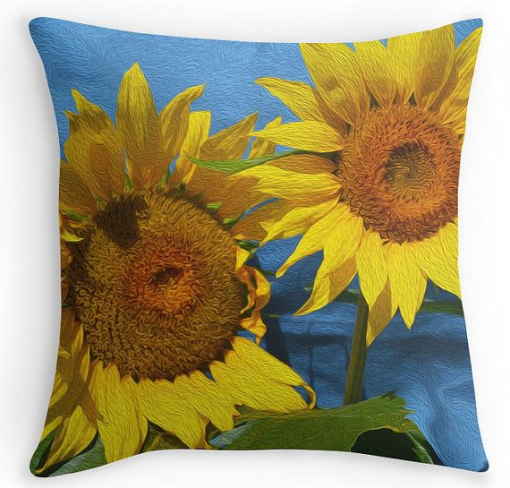 Decorative Sunflower Throw Pillow, Colorful yellow blue, indoor outdoor use, sunflower photography, accent pillow