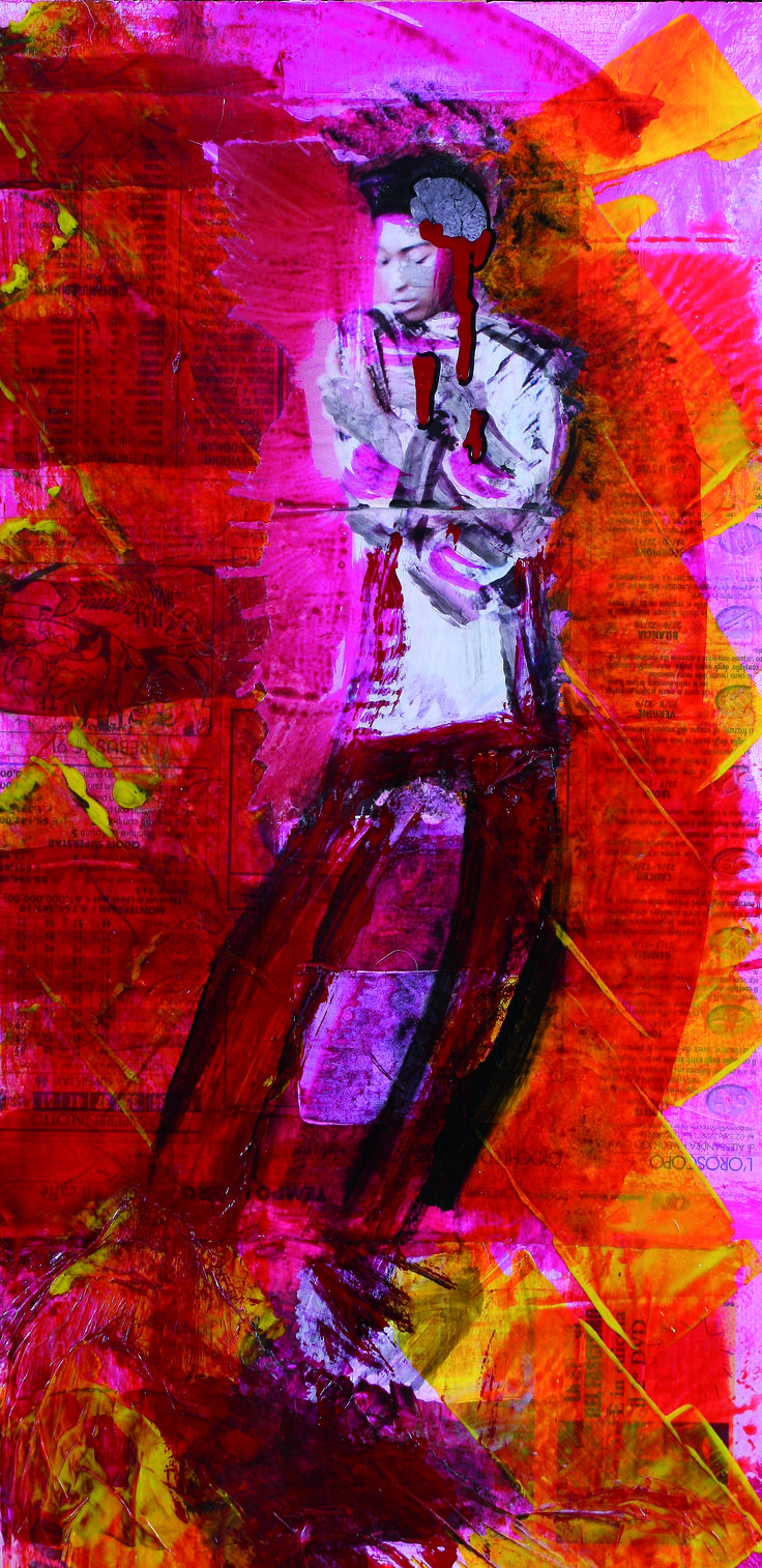 2 Donne, 2008 particular, mixed media on wood, 150X26 cm
