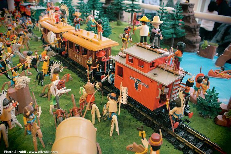 L'attaque du train western - Diorama Playmobil réalisé à Reuil-Malmaison par Alizobil et Lubin - Smile-Compagnie #playmobil #smilecompagnie