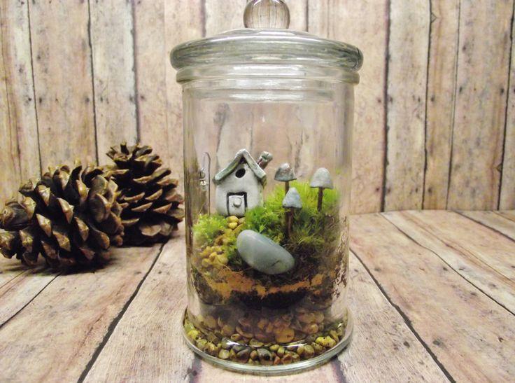 Miniature Lanscape Live Moss Terrarium with Tiny Raku fired house Glow in the Dark mushrooms and tiny lantern- Handmade By Gypsy Raku