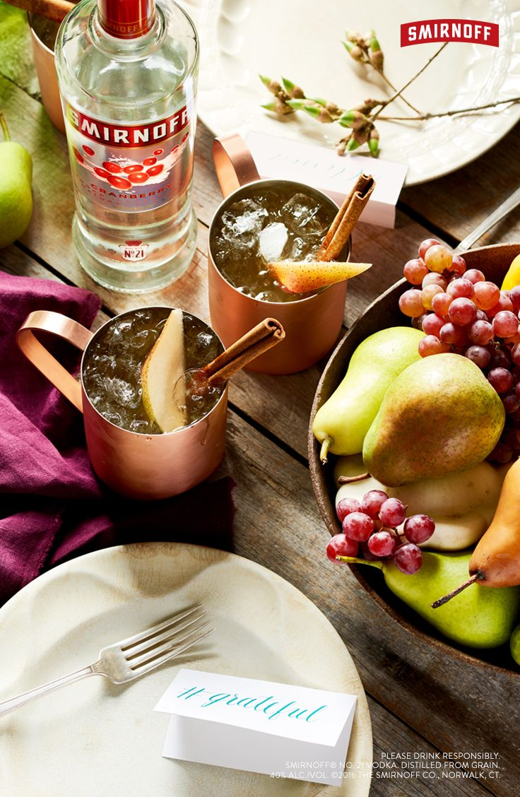 In charge of Thanksgiving drinks? This tasty pear and cinnamon Moscow Mule is the cutest potluck cocktail for Friendsgiving, or if you're into smaller gatherings, mix up two copper mugs for a festive, fall night-in with your bestie. Easy and delicious recipe for two below:   MAMA'S MOSCOW MULE (Serves 2)  3 OZ  SMIRNOFF CRANBERRY 6 OZ GINGER BEER GARNISH WITH PEAR AND CINNAMON