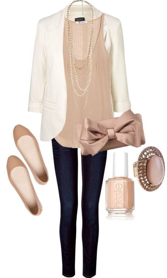White ladies jacket, jeans, easy shoes, ear tops and blouse for ladies