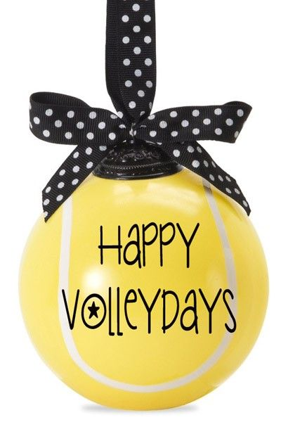 Happy Volleydays - Tennis Ball Ornament - 2014