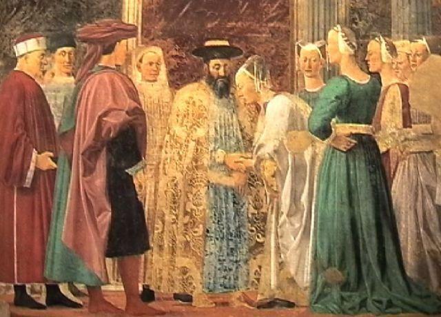 Piero della Francesca, Leggenda della Vera Croce, Incontro di Salomone con la regina di Saba, 1452-1466