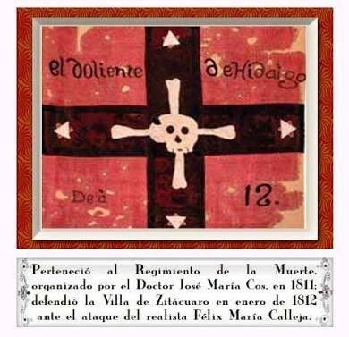 Bandera llamada La Doliente en honor a Miguel Hidalgo. Utilizada en Zitacuaro