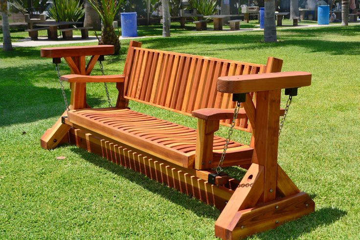 Custom Adirondack Chain Glider Options 3 Person Redwood