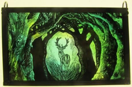 """Into the Murk Wood (Stag)"" by stained glass artist Tamsin Abbott"