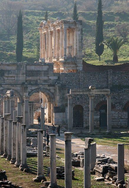 Ephesus Down Marble Street toward Library, Ephesus, Turkey