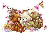 Плюшевого мишку и фон для детей день рождения — стоковое фото