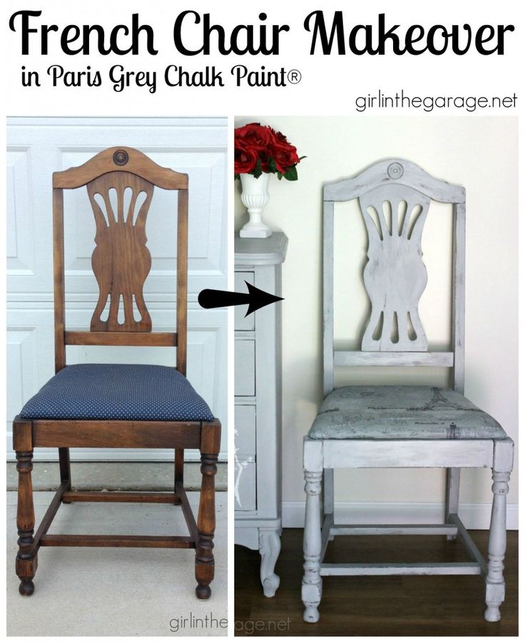 French Chair Makeover in Paris Grey - Girl in the Garage