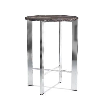 Mercer Round Marble Side Table. Marble top + nickel base.