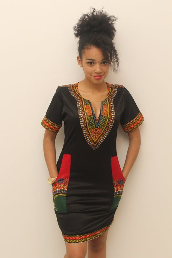 cool Dashiki black cotton dress by http://www.redfashiontrends.us/african-fashion/dashiki-black-cotton-dress/