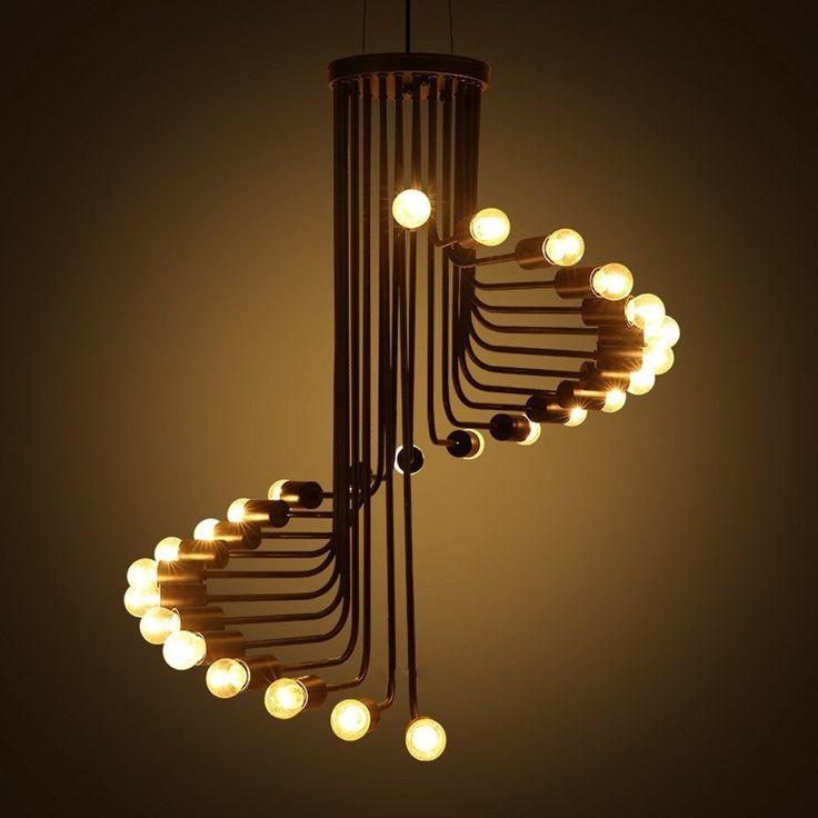 Aiwen Lustres Spiral Stairs style fer forgé(Ampoules non incluses)26 Support de lampe: Amazon.fr: Luminaires et Eclairage
