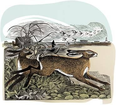 """Orford Hares"" by Angela Harding (linocut and screenprint)"