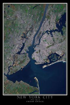 New York City New York Satellite Poster Map