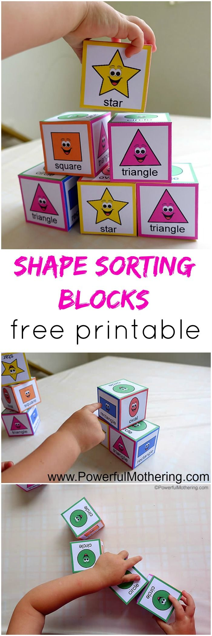 make your toddler some awesome sorting shapes boxes with free printable from PowerfulMothering.com basic colors and shapes as well as the written words for a bit of name recognition!