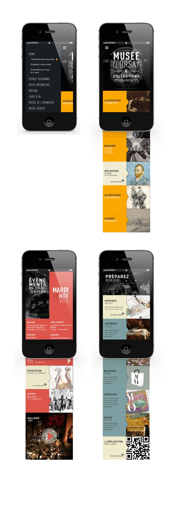 <> Orsay Museum by Jeremy Perrot-Minnot, via Behance, great way to display mobile design