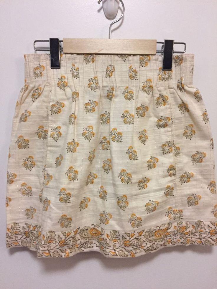 Club Monaco Women's SZ 0 XS Floral Skirt Ivory Yellow Lined Cotton