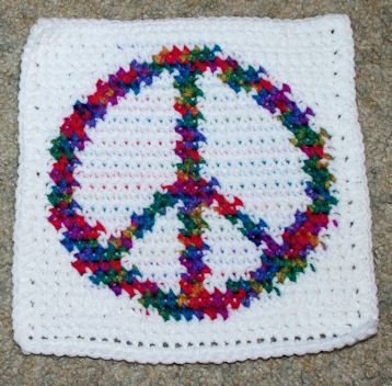ROW COUNT PEACE SIGN AFGHAN SQUARE Crochet Pattern - Free Crochet Pattern Courtesy of Crochetnmore.com